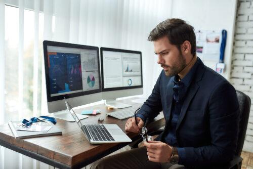 man preparing financial report